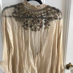 Urban Outfitters High Neck Open Back Beaded Blouse
